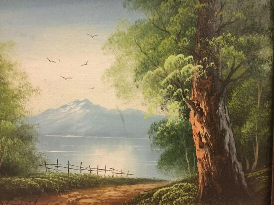 Small framed original landscape painting of mountain lake scene, signed by artist Mordeche (?)
