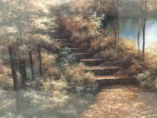 Framed Meijer layered print art piece of secluded nature staircase