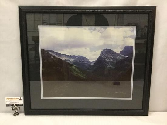 Framed Glacier Park/ mountain scene photograph signed by Dale Fishel