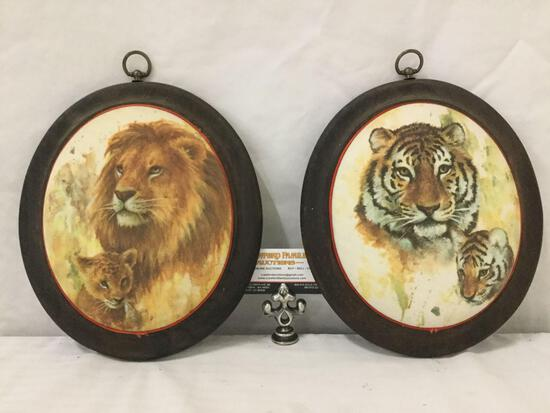 """Pair of portrait """"egg"""" shape 1970's wall hanging Tiger pictures , approx. 12x10 inches."""