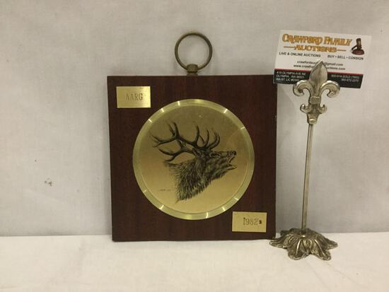 1982 AARG elk wildlife portrait plaque