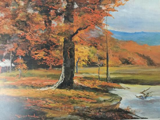 Lithograph print of Oaks in Autumn by Robert Woods. Unframed.