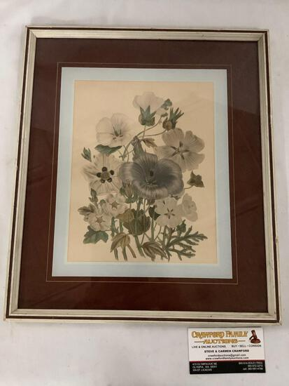 Vintage framed flower artwork approximately 13 x 15 inches