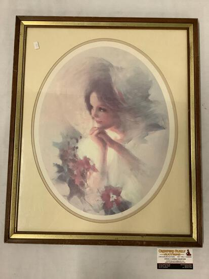 Vintage framed print portrait of a woman in bonnet, artist unknown, approximately 19 x 23 inches.
