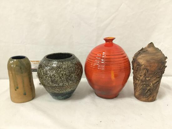 Collection of 4 handmade ceramic vases. 2 are signed.