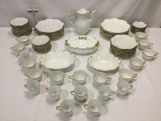 Vintage gold-rimmed china lot: Hutschenreuther Selb Bavarian, English Johnson Bros, Mitterteich