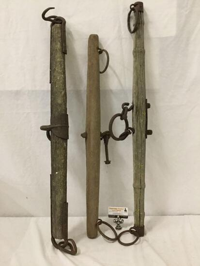 3x Antique wooden and metal yokes