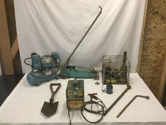 Lot of vintage automotive tools; Silver Beauty Charger, Sears 1.25 ton floor service car jack & more