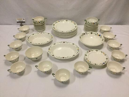 English Wedgwood - Marion - Queens Ivory 58 piece China set: plates, teacups, saucers, bowls, & more