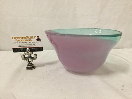Striking Art glass bowl by Dan Bergsma, approx. 9 x 4 inches