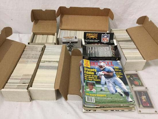 Huge lot of over 2000 pro sports trading cards, mostly NFL, some NBA, MLB, & NASCAR plus magazines