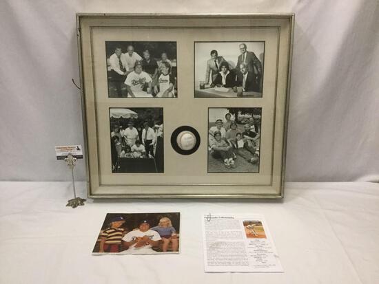 1981 MLB pitcher Fernando Valenzuela signed baseball & photograph collection in window box frame