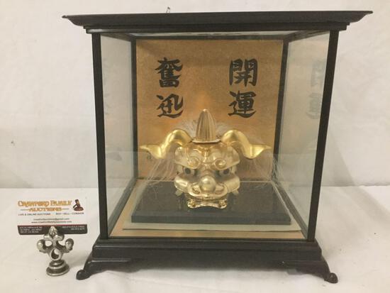 Asian dragon head goldtone metal sculpture art w/ display case