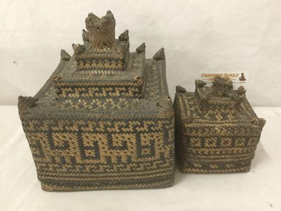 Pair of antique woven Asian Pagoda castle shaped baskets