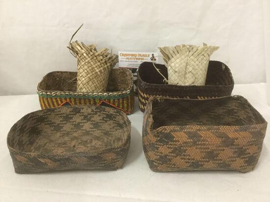 5x antique woven baskets; 1 w/ lid, 1 w/ shells & bead work