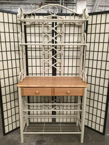 Modern metal & wood 2-drawer hall table / backers rack w/ 4-shelves
