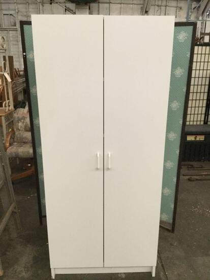 Garage or shop white storage cupboard cabinet in fair to good cond