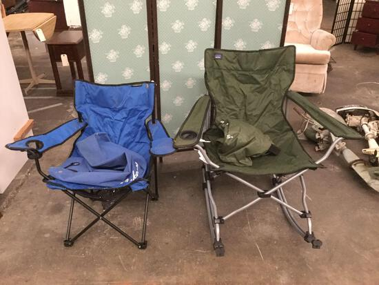 Pair of folding collapsible outdoor camping chairs - 1 rocker chair