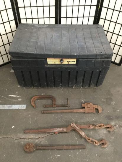 Large plastic Tuff-Bin trunk full of 4 vintage tools, piece has some damage sold as is see desc