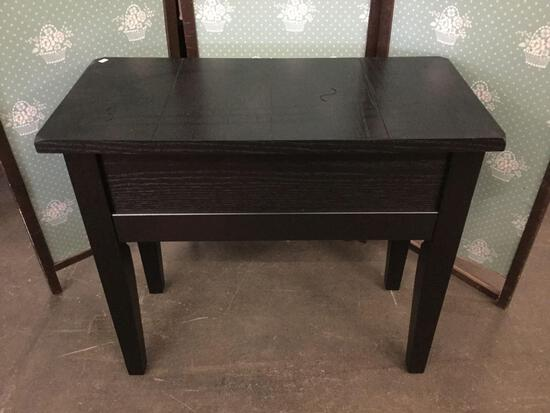 Modern dark stain side table. Approx 28x24x13 inches