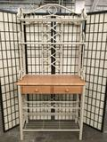 Modern metal & wood 2-drawer hall table / backers rack w/ 4-shelves