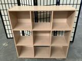 Modern bookshelf cubby, approx 36x36x12 inches.