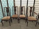 4 vintage dining chairs w/ floral upholstery & cabriole legs.