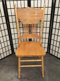 Vintage dining room chair with carved accenting. Approx 42x20x18 inches. 2125.17