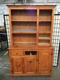 Large hutch missing drawer and cabinet doors, has some spray paint. Approx 78x48x22 inches. 2125.3