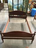 Vintage wood queen size bed frame, shows wear, see pics, approx 81x59x39 inches