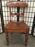Vintage carved wood chair, seat is cracked, see pics, approx 15.5 x 17.5 x 35 in