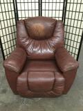 Brown / red La-Z-Boy leather recliner chair - as is
