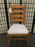 Modern Webb furn co. maple dining chair with upholstered seat and carved front