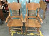 Pair of high-back wood carved vintage arm chairs