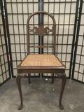Vintage regal chair w/ cabriole legs & elegant backrest. Some wear, see pics. Approx. 36x17x17