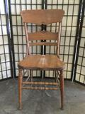 Vintage dining chair w/ carved wood detailing, shows wear & repair, seat is cracked, see pics.