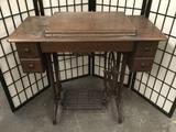 Antique sewing machine workstation approx 34x16x31 inches. 2121.5