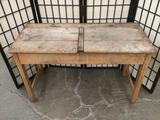 Antique wood two-seater school desk approx 40x26x18 inches. 2121.1
