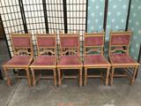 Set of 5 antique Victorian dining chairs with regal carved design and studded pink upholstery