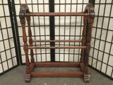 Vintage thick wooden quilt rack with late 60's/70's design