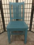 Blue painted wooden chair with some minor wear, see pics. Approximately 17 x 18 x 38 inches.