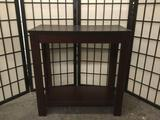 Brown wooden end table, approx. 24x12x24 inches. 2124.25