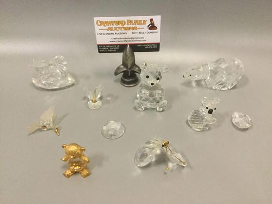 8 crystal animal figurines: 3 marked SAWROVSKI Silver Crystal, 2 need minor repair.