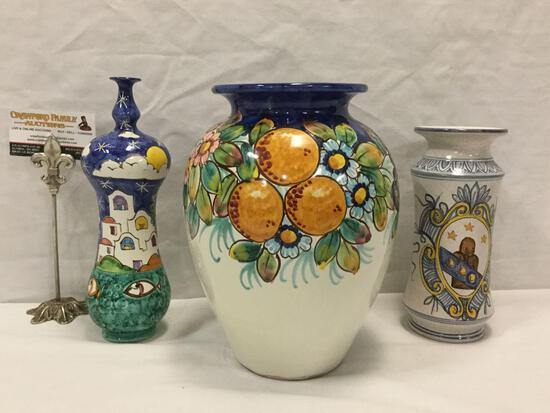 3 handpainted ceramic Italian vases / vessels incl. orange scene vase, house scene bottle + - all