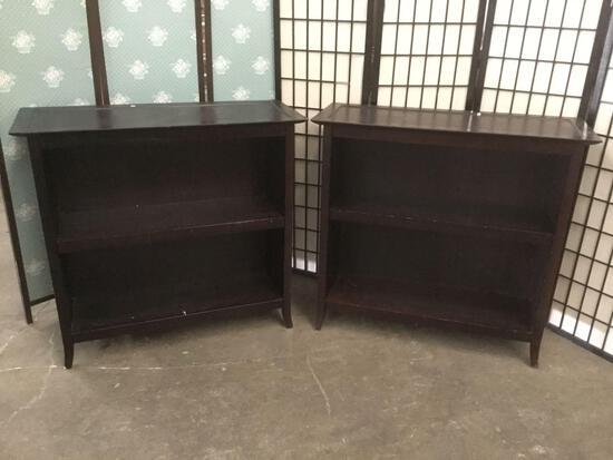 2x modern bookshelves