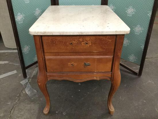Vintage marble top nightstand w/ 1 drawer, sold as is
