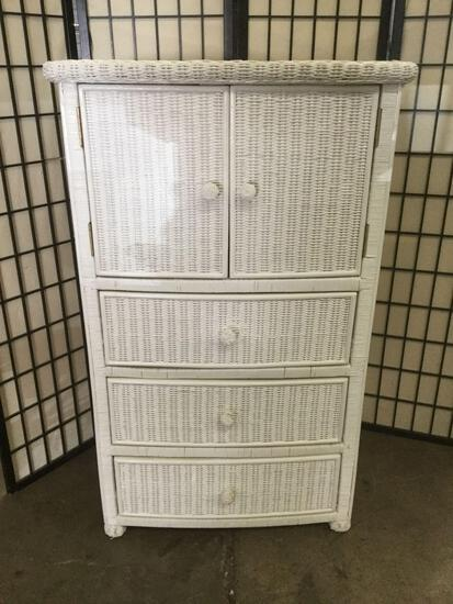Wicker dresser cabinet/media center
