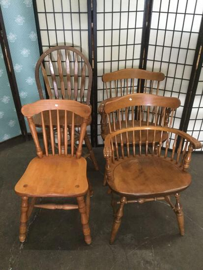 4x vintage wood chairs, 3 styles