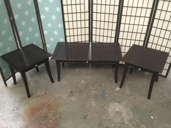 3 modern tables; coffee, 2 end tables w/ drawer
