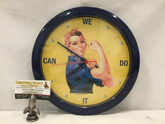 Rosie The Riveter - WE CAN DO IT - modern battery operated wall clock